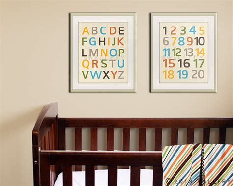 Modern Nursery Wall Decor Modern Alphabet Nursery Prints Nursery Wall By Wallfry