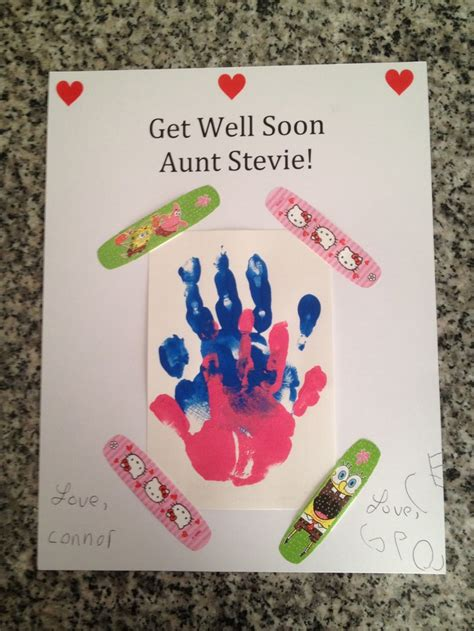 get well soon card ideas for children to make get well handprint card with band aids crafts