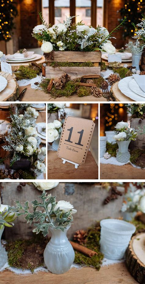 winter wedding table decor rustic winter woodland wedding decorations