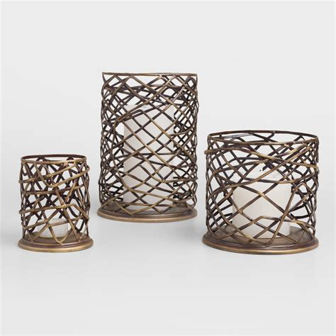 kerzenhalter outdoor woven metal brookyn hurricane candleholder world market