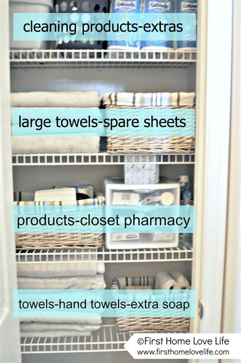 linen closet organization  closet pharmacy  home