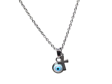 Silver Evil Eye 13 5mm Pendant evil eye cross necklace of pearl and stainless