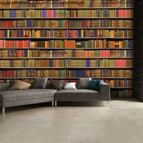 1wall colourful library bookshelf wallpaper mural 3 15 x 2 32m