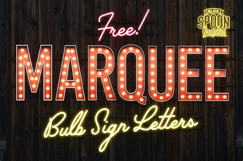 free pack of vintage style marquee bulb sign letters