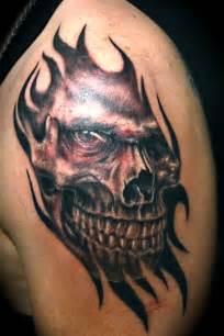 Evil skull tattoos style amp designs