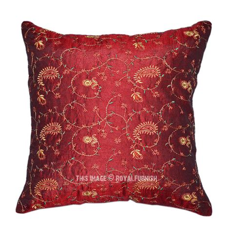 indian floral embroidered decorative silk throw pillow