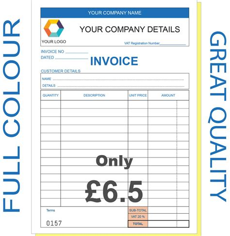design an invoice book personalised duplicate a5 invoice book pad print ncr