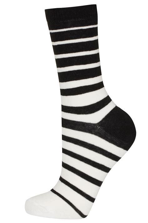 sock black and white topshop black and white stripes socks in black monochrome