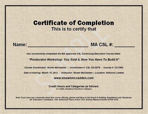 sle ma csl ceu course completion certificate