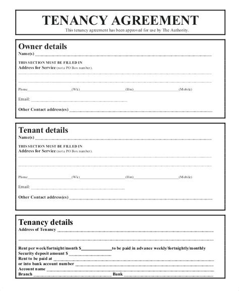 standard tenancy agreement template tenancy agreement templates form template basic