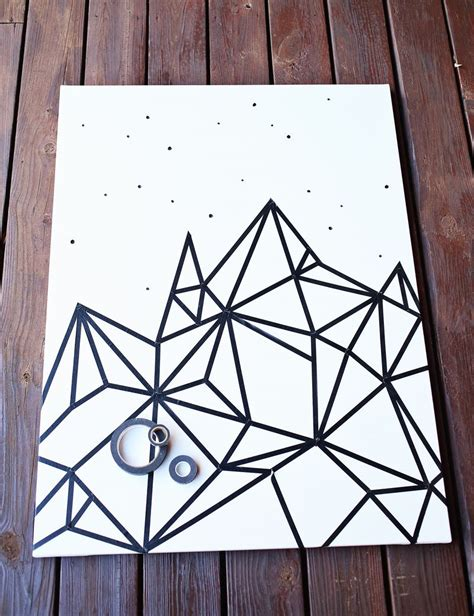 geometric pattern wall canvas try this easy washi tape wall art a beautiful mess