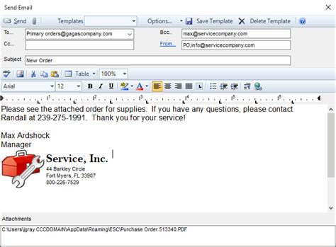purchase order email template how do i email a purchase order to my vendor desco support