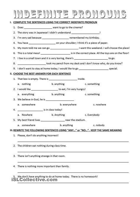 printable pronoun quiz indefinite pronouns worksheets activities pinterest