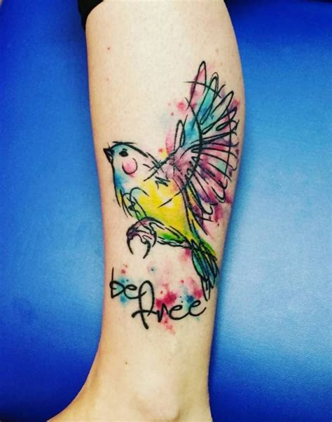 watercolor tattoo lettering like watercolor colored bird with lettering