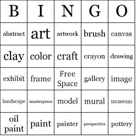 printable art bingo cards arts vocabulary bingo cards