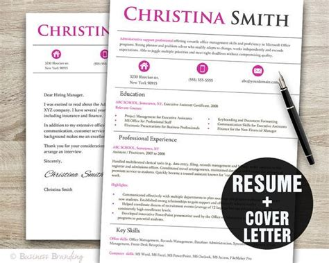 Pink Resume Template Instant Download Resume Template Cover Letter Pink Resume Template Free