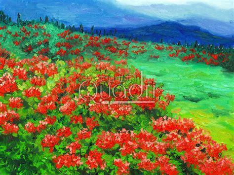 paesaggi di fiori quadro paesaggio floreale opera puntinista con fiori