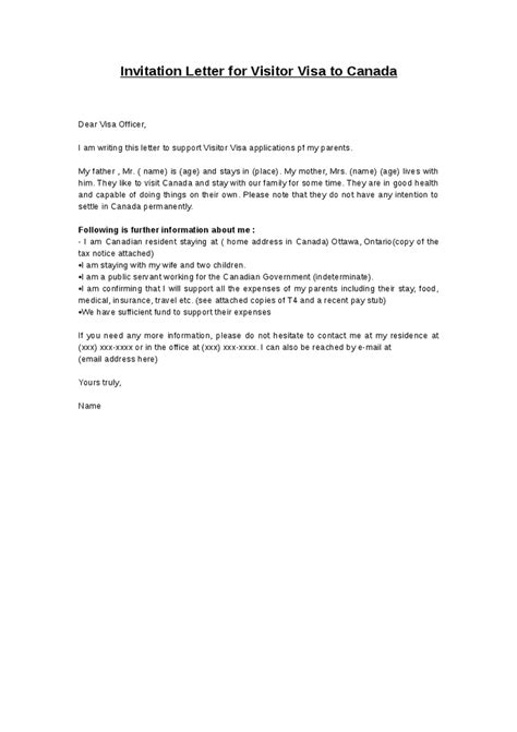 Letter Of Support For Visa Canada Sle Invitation Letter For Visitor Visa Reglementdifferend