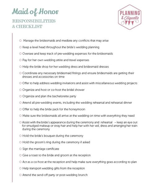 Best Printable Wedding Party Duties Checklist Bridesmaid To Do List Template