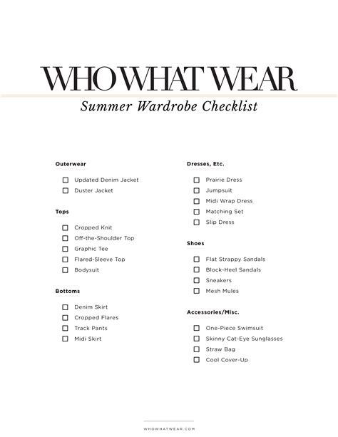 Summer Wardrobe Checklist by The Fashion S Summer Wardrobe Checklist Whowhatwear