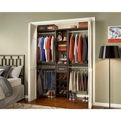 closetmaid closet kit closetmaid impressions 16 in w chocolate narrow closet