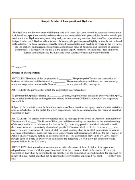 Articles Of Incorporation Template 6 Free Templates In Pdf Word Excel Download Bylaws And Articles Of Incorporation Template
