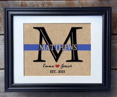 police officer home decor thin blue line family name burlap print burlap monogram