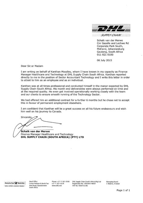 Reference Letter In Afrikaans letter of recommendation dhl supply chain south africa