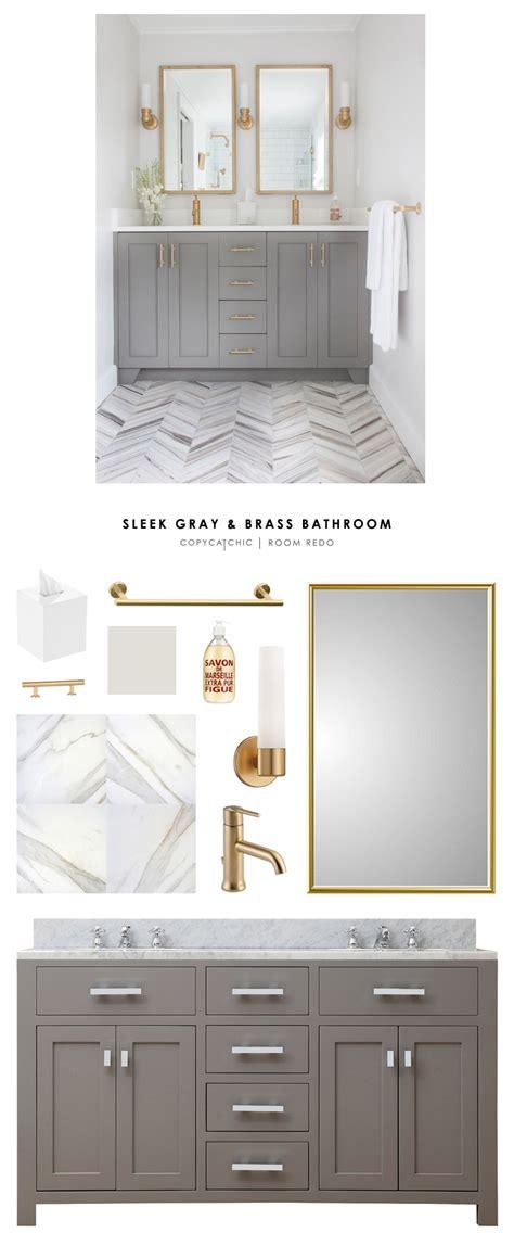 copy cat chic room redo sleek gray  brass bathroom