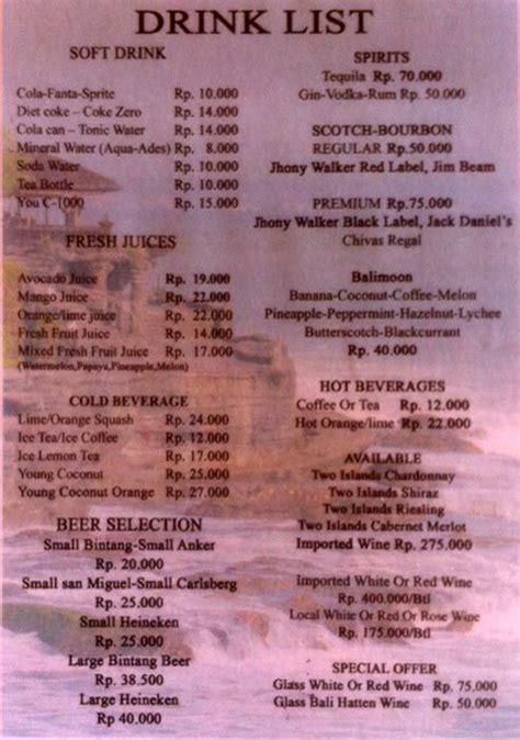 menu menega cafe jimbaran  restaurants cafe  bali