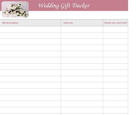 wedding shower gift list template wedding gift list template free wedding gift list template