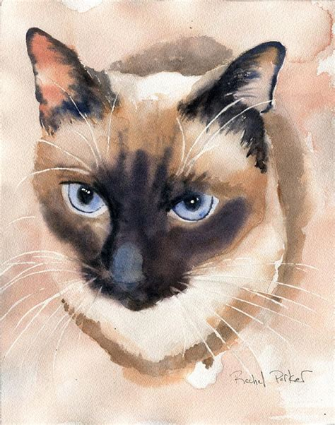 print applehead siamese cat art print of a watercolor painting
