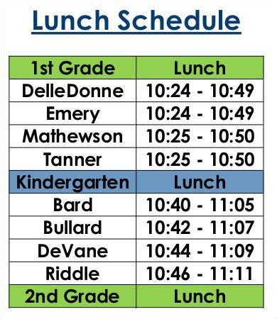 and lunch schedule template lunch schedule template 14 free word pdf documents