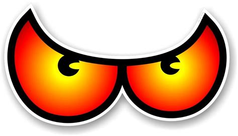 Butterfly Wall Sticker pair of cartoon angry evil eye eyes design in orange for