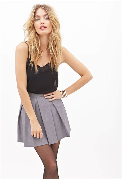 A Line Pleated Mini Skirt forever 21 pleated a line mini skirt in gray lyst