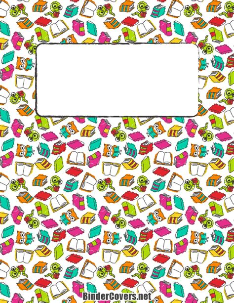 templates for school book covers printable reading binder cover