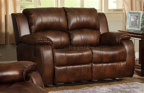 9888 Contemporary Sofa In Warm Brown Leather By Homelegance Medium Brown Leather Sofa