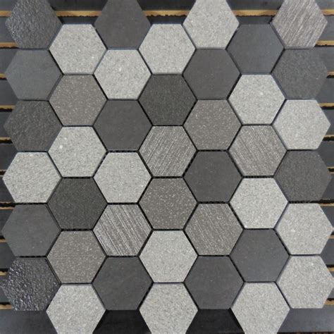 grey hexagon pattern pth2012 porcelain mosaic grey 2 hexagon glass tile and