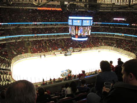 united center section 320 solid view from beneath the press box united center