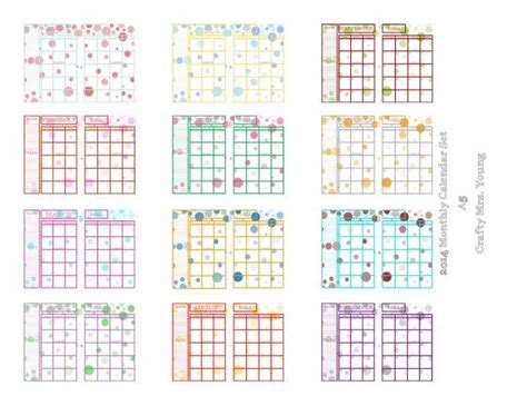 printable calendar a5 instant download printable filofax a5 daytimer folio 2014