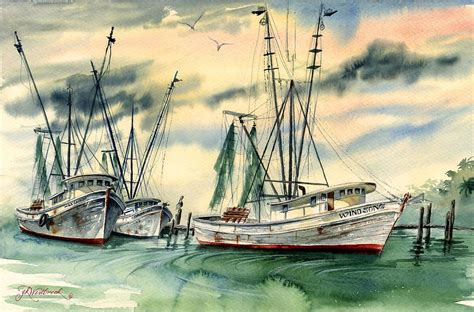 shrimp boat art ahrimp boats painted in watercolor shrimp boats in the