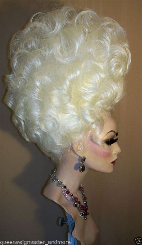 drag updo hair drag queen wig big tall up do in white blonde all hair up