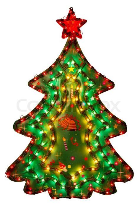electric christmas trees whos idea was it decoration tree electric illuminated lights isolated stock photo