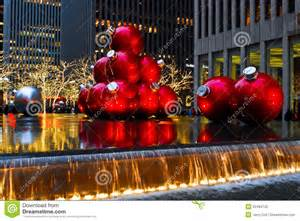 giant christmas ornaments in manhattan nyc editorial