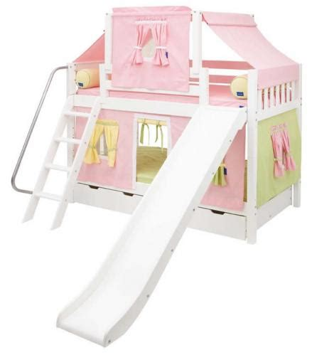 Maxtrix Playhouse Tent Bunk Bed W Slide Pink Yellow