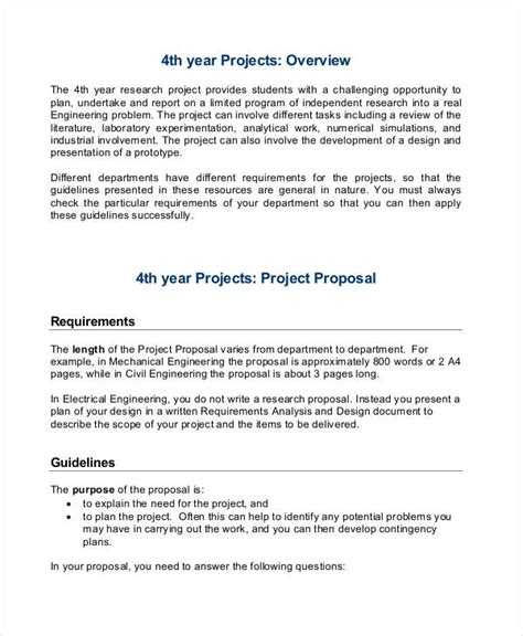 proposal format engineering 24 project proposal exles free premium templates