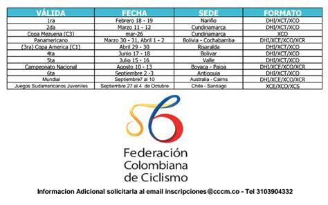 Calendario B Nacional Calendario Nacional Mtb 2017
