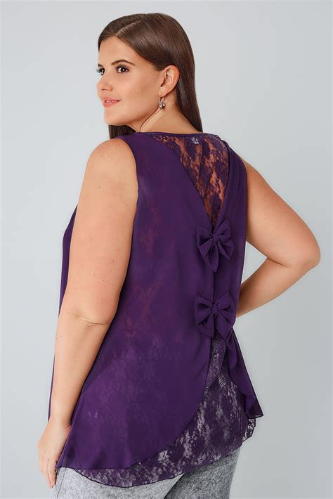 yeza detail top purple purple sleeveless top with lace back bow detail