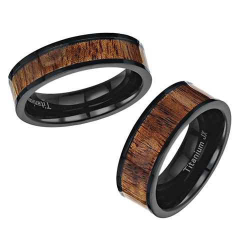 wood pattern ring his hers black titanium wedding ring band set with a