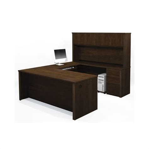 U Shaped Office Desk With Hutch Bestar Prestige U Shape Desk Office Set With Hutch In Chocolate 99853 69